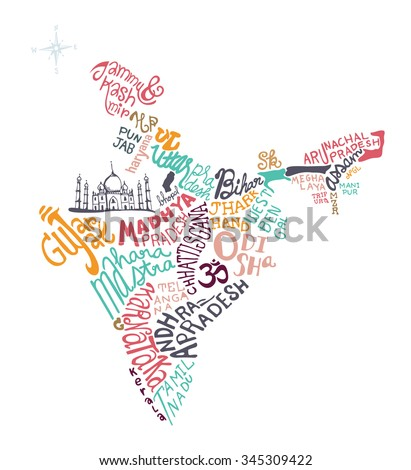 india hand drawn map vector illustration, doodle vector illustration - stock vector