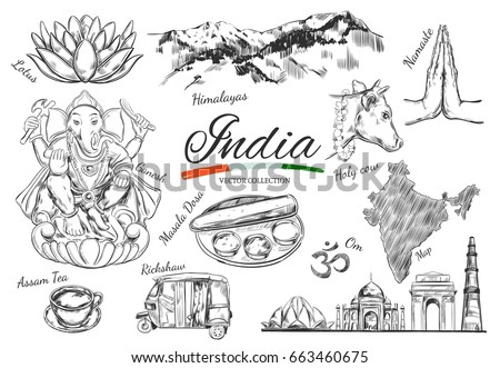 India Indian Heritage Vector Hand Drawn Stock Photo Photo Vector
