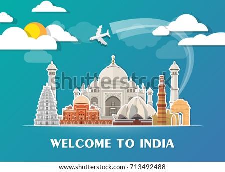 India Landmark Global Travel Journey Paper Stock Vector 713492488