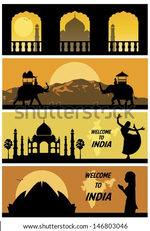 India landscapes, vector - stock vector