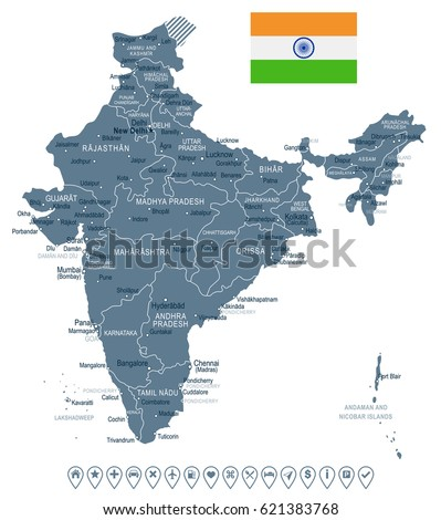 India map flag highly detailed vector stock vector hd royalty free india map and flag highly detailed vector illustration gumiabroncs Gallery