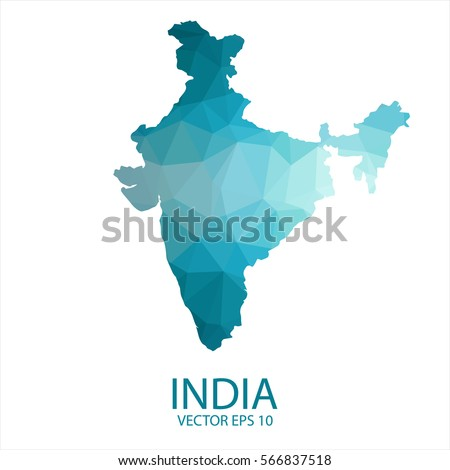 India Map   Blue Geometric Rumpled Triangular Low Poly Style Gradient  Graphic Background , Polygonal Design