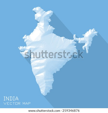 India map 3d vector - triangle surface