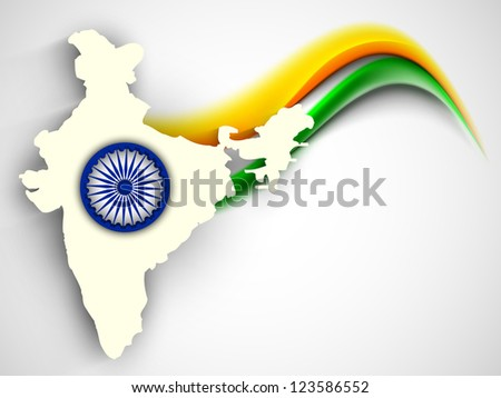 India map on national flag color creative wave background with Asoka wheel. EPS 10. - stock vector