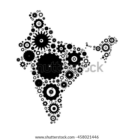 India map silhouette mosaic of cogs and gears. Black vector illustration on white background.