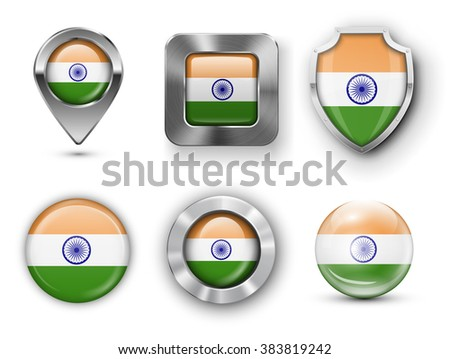 India Metal and Glass Flag Badges, Buttons, Map marker pin and Shields. Vector illustrations - stock vector