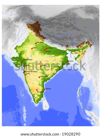 India. Physical vector map, colored according to elevation, with rivers, ocean depths and selected cities. Surrounding territory greyed out. 65 layers, fully editable. Data source: NASA - stock vector