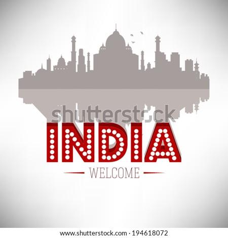 India skyline silhouette design, vector illustration. - stock vector