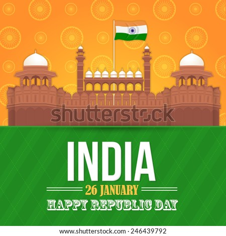India Theme Celebration Card, Background, Badges Vector Template - stock vector