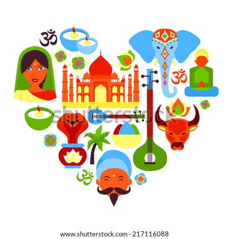 India Travel Culture Religion Symbols Heart Stock Vector 2018
