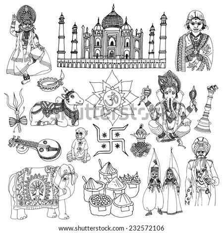 India travel traditional culture decorative sketch icons set with elephant lotus buddha isolated vector illustration - stock vector