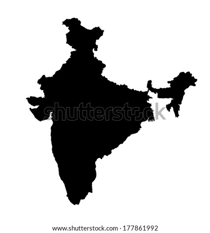 India vector map, high detailed illustration, isolated on white background. - stock vector