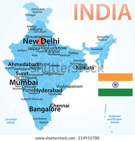 India vector map carefully scaled cities vector de stock214910788 india vector map with carefully scaled cities by population geographically correct gumiabroncs Image collections