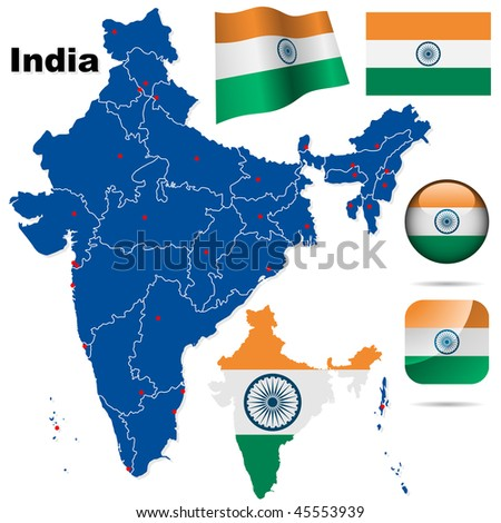 India vector set. Detailed country shape with region borders, flags and icons isolated on white background. - stock vector