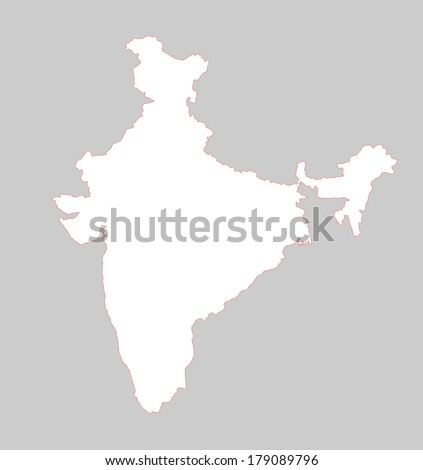 India white vector map, high detailed illustration, isolated on gray background. - stock vector