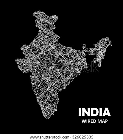 India Wired Map Transportation Communication Concept Stock Vector ...