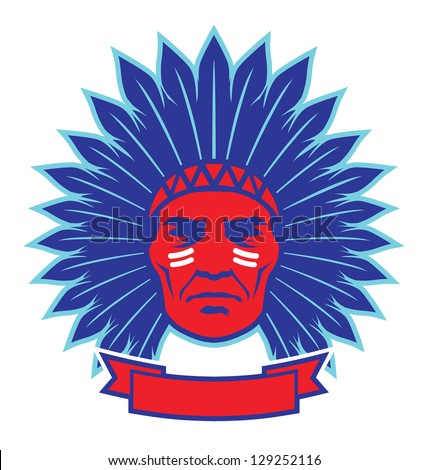 indian chief mascot - stock vector