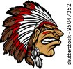 Indian Chief Mascot Head Cartoon Vector Graphic - stock vector
