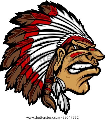 Indian Chief Mascot Head Cartoon Vector Graphic - stock vector