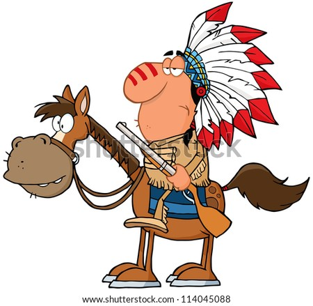 Indian Chief With Gun On Horse. Vector Illustration
