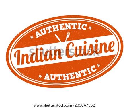 Indian cuisine grunge rubber stamp on white, vector illustration - stock vector