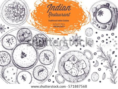 Indian Cuisine Top View Frame Indian Stock Vector 571887568 - Shutterstock