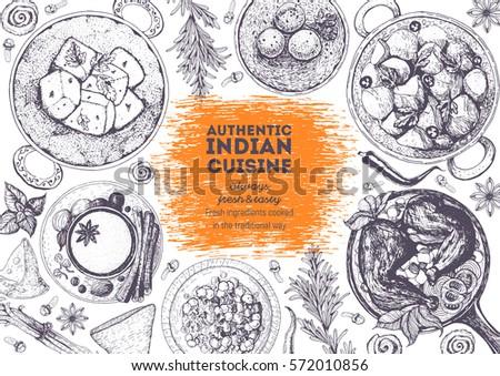 Indian Cuisine Top View Frame Indian Stock Vector 571887571 - Shutterstock