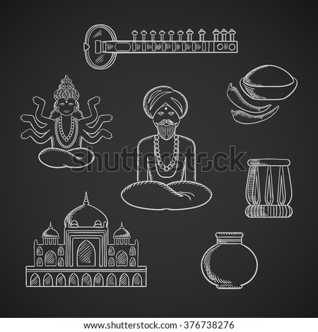Indian culture and religion icons with Taj Mahal and sitar, fresh chili pepper and chili powder, tabla drum and vase, God Vishnu, bearded man in turban and necklace in lotus pose - stock vector