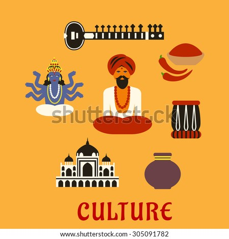 Indian culture flat icons and symbols with sitar, fresh chili pepper and chili powder, tabla drum, vase, ancient temple, God Vishnu, bearded man in red turban and bead necklace in lotus pose - stock vector