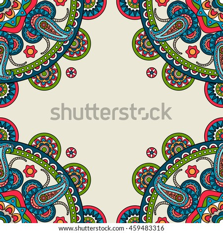 Indian doodle paisley colored frame. Vector illustration