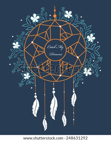 Indian Dream catcher. Vector illustration isolated on background. - stock vector