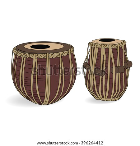 Indian drums tabla isolated on white background  - stock vector