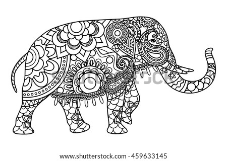Indian Elephant Coloring Pages Template Vector Stock Vector HD ...