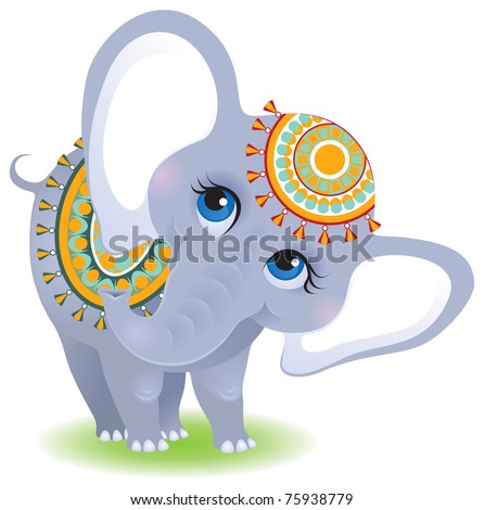 Indian elephant. Cute animal character isolated on white background - stock vector