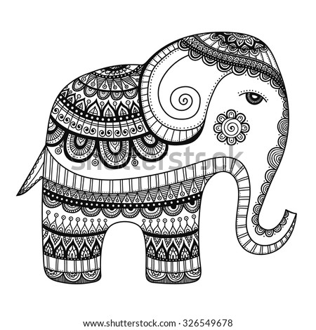 indian elephant hand drawn doodle bishop with abstract tribal ornament vector ethnic elephant