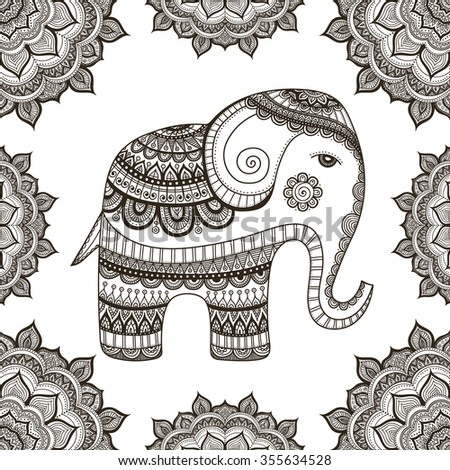 indian elephant hand drawn elephant doodle stock vector 355634528