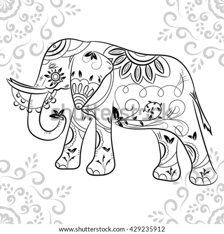 ornate elephant on lace background for coloring page design wild