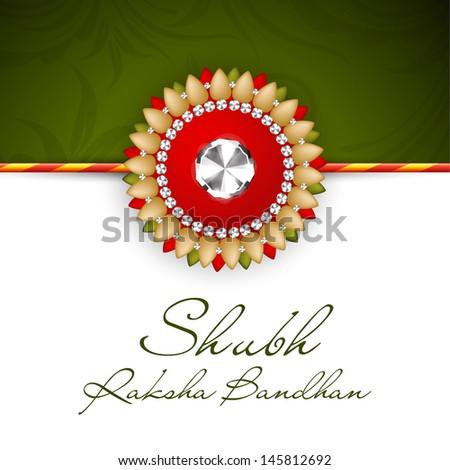 Indian festival background with beautiful rakhi and text Subh Raksha Bandhan (Happy Raksha Bandhan). - stock vector