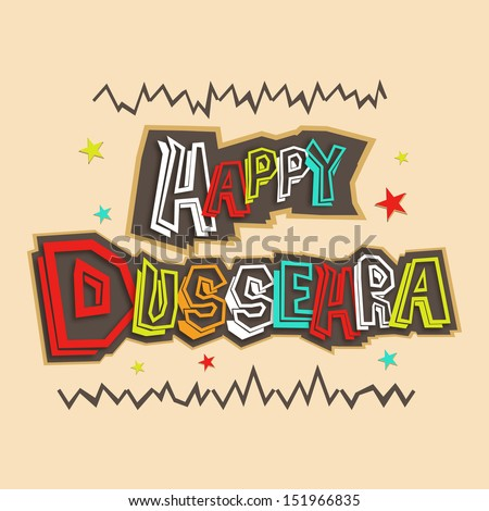 Indian festival happy dussehra greeting card stock vector hd indian festival happy dussehra greeting card with colorful text on vintage background m4hsunfo