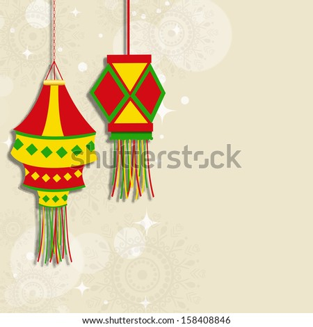 Indian Festival Of Lights Happy Diwali Concept On Floral Decorated Background With Colorful Hanging
