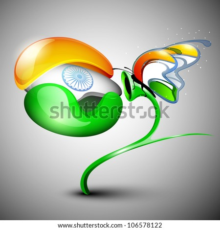 Indian Flag butterfly on Indian flag flower isolated on grey background. EPS 10. - stock vector