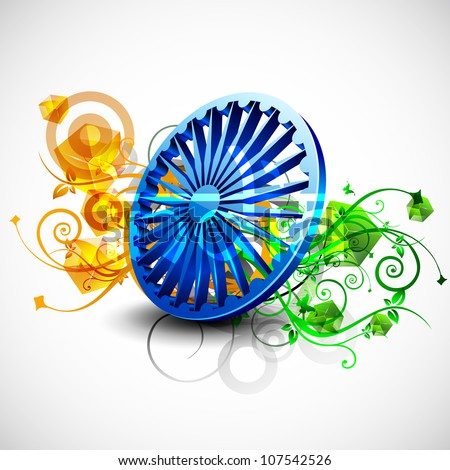 Indian flag color creative floral background with 3D Asoka wheel. EPS 10. - stock vector