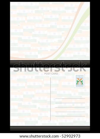 indian flag pattern postcard, vector illustration - stock vector