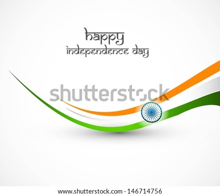 Indian flag stylish wave illustration for independence day background - stock vector