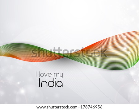 Indian flag theme wave background. - stock vector