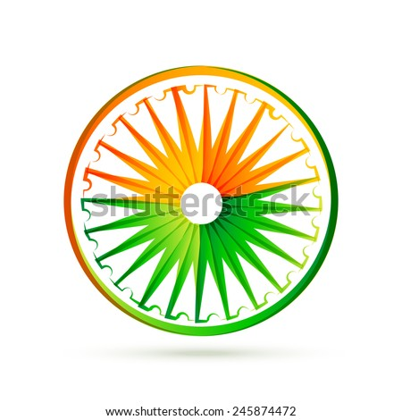 indian flag wheel design made with tri colors - stock vector