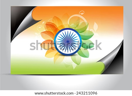 Indian flag wrap concept with floral vector illustration  - stock vector