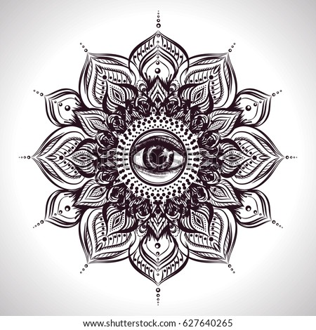 Indian Floral Mandala With All Seeing Eye Vector Isolated Illustration