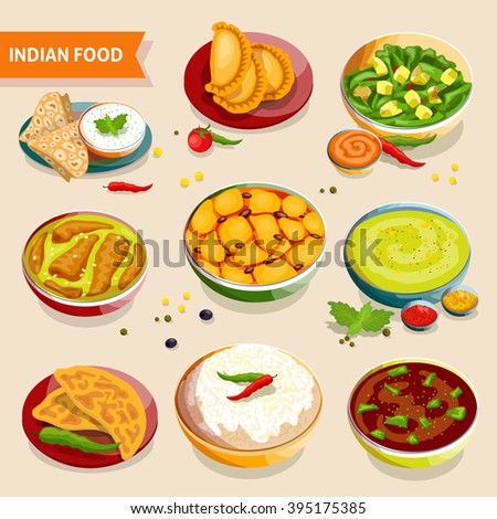 Indian Food Set National Dishes Rice Stock Vector ...