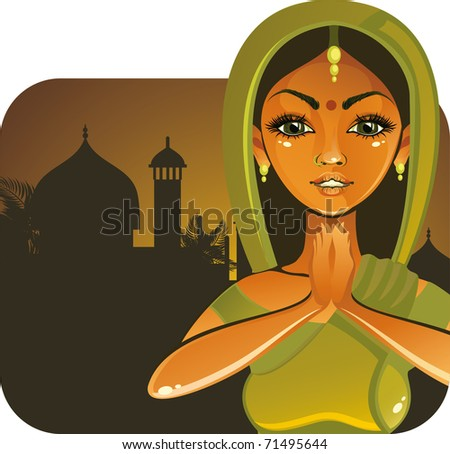 indian girl - stock vector